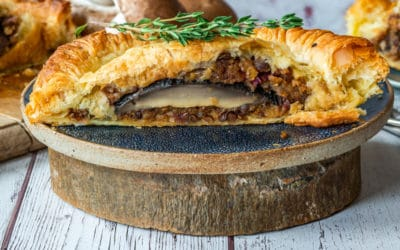 Feta cheese and Must Chup 'Big Kick' roasted butternut squash Wellington with tomato and basil sauce